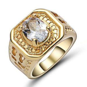 Jewelry - White Topaz 18KT Yellow Gold Filled Ring Size 6